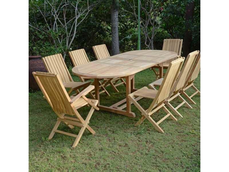 Salon de jardin en teck ecograde fuji, table extensible 1.60 à 2.40 ...