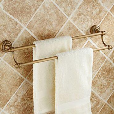 Porte-serviettes en laiton antique avec fixation murale