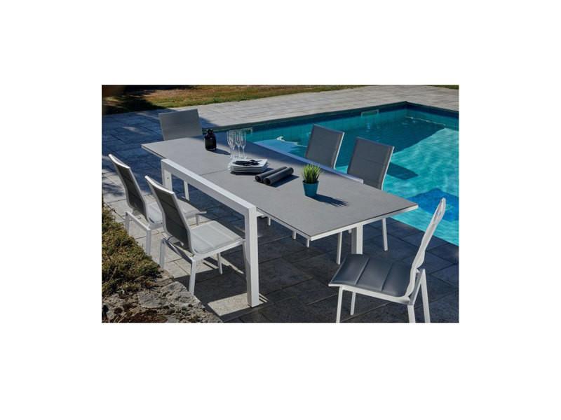 Salon de jardin avec table extensible 146/266 x 100 x 75 cm ...