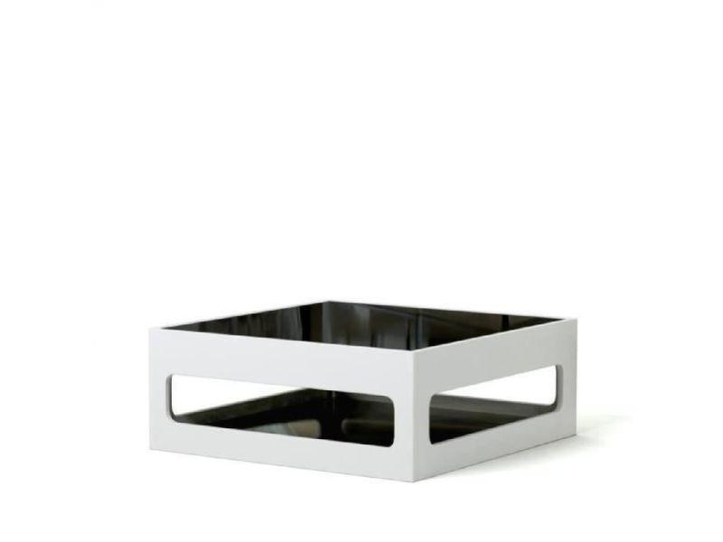 Angel table basse carree style contemporain laquee blanc brillant avec plateaux en verre trempe noir - l 90 x l 90 cm