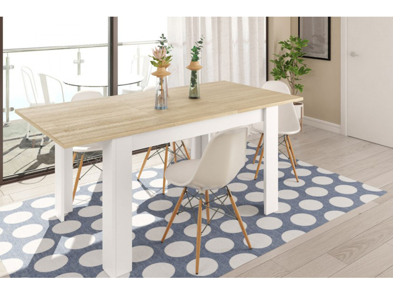 Table à manger extensible en chêne canadian et blanc artik - 78 x 140-190 x 90 cm -pegane-