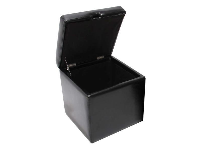 Pouf tabouret cube-coffre onex, cuir, 45x44x44cm, noir