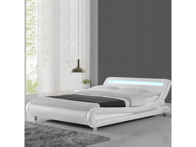 lit led design julio blanc 140x190 vente de lit. Black Bedroom Furniture Sets. Home Design Ideas