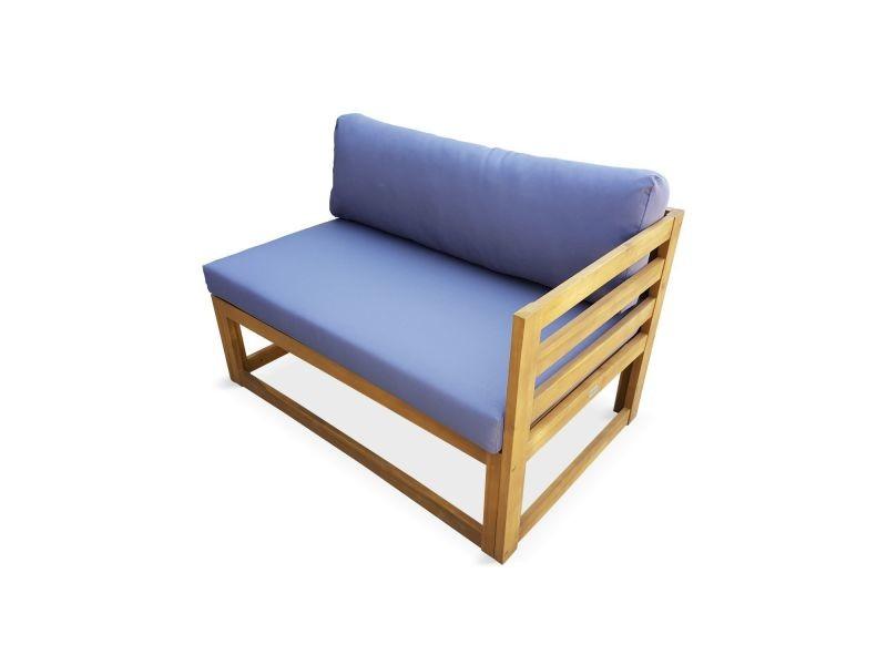 Salon de jardin d\'angle en bois 5 places – rafaela – coussins gris ...