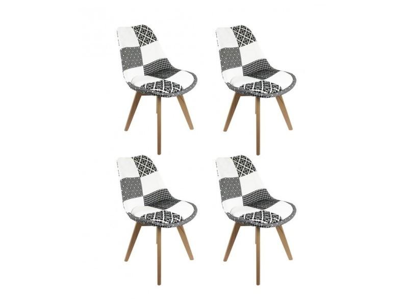 Lot 4 chaises patchwork noir et blanc - lidy