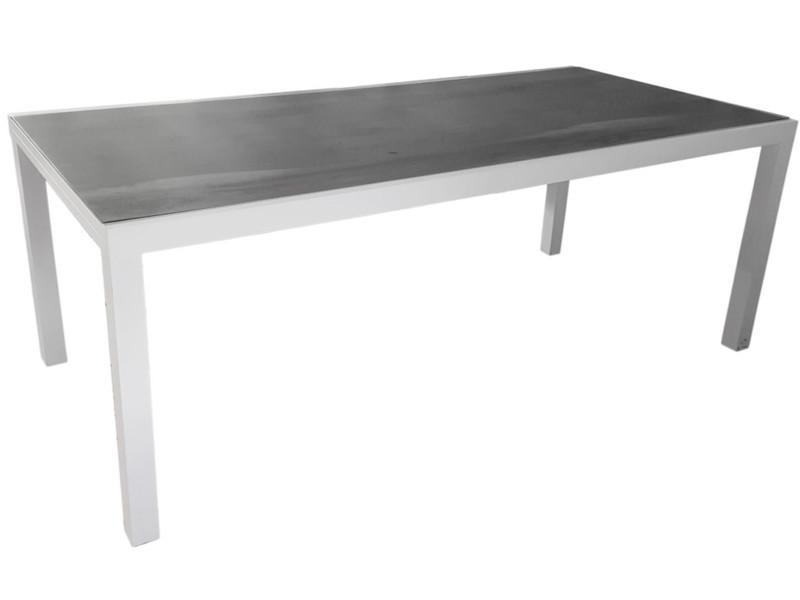 Table de jardin en aluminium blanc/effet bois - dim : l.200 x p.96 x h75 ...