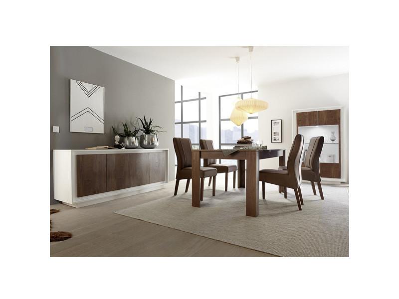 Salle à manger complète blanc laqué mat et couleur bois malt ...