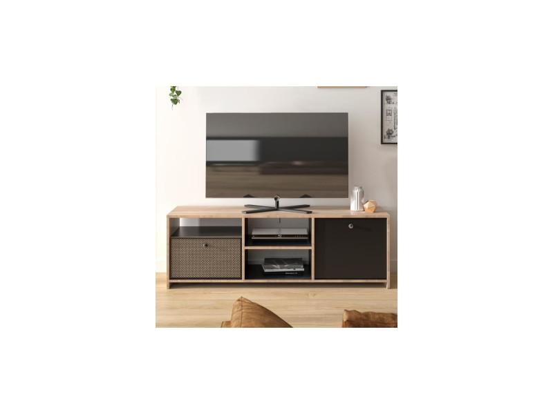 Preston meuble tv - style urbain - décor chataigner naturel et noir - l 136 x p 40 x h 46 cm