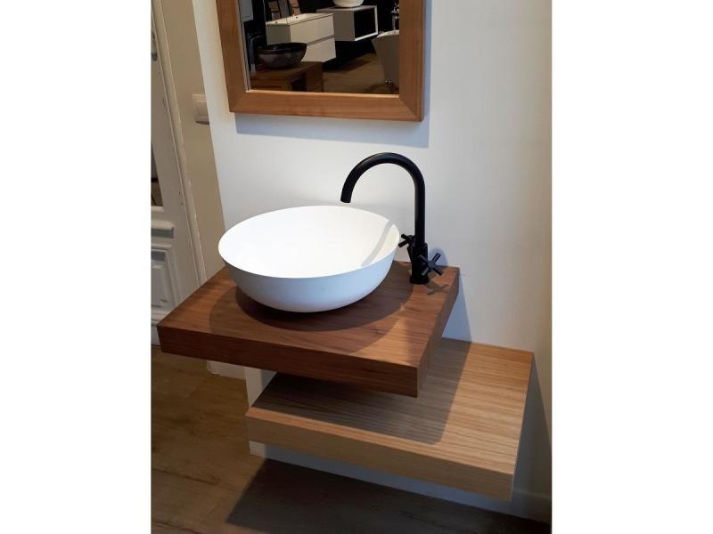 Plan Vasque Suspendu Zero Pour Salle De Bain Design Noyer
