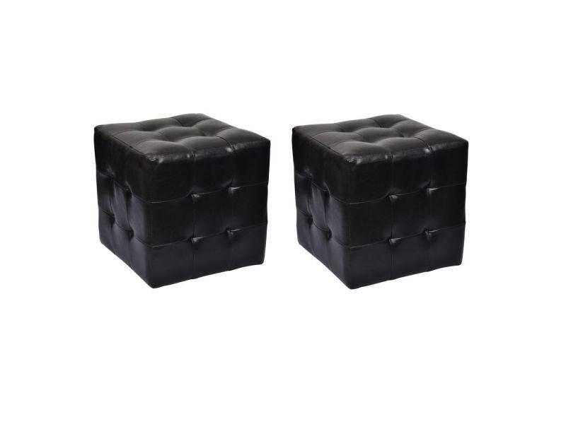Superbe meubles ensemble djibouti pouf cube capitonné noir (lot de 2)