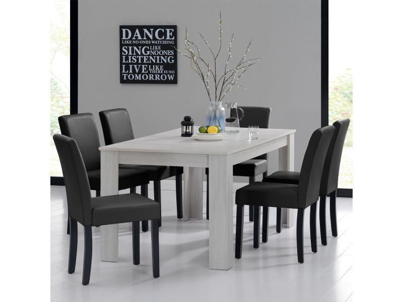 en.casa] table et jeu de chaises \'oslo\' (blanc - 160x90) 6 ...