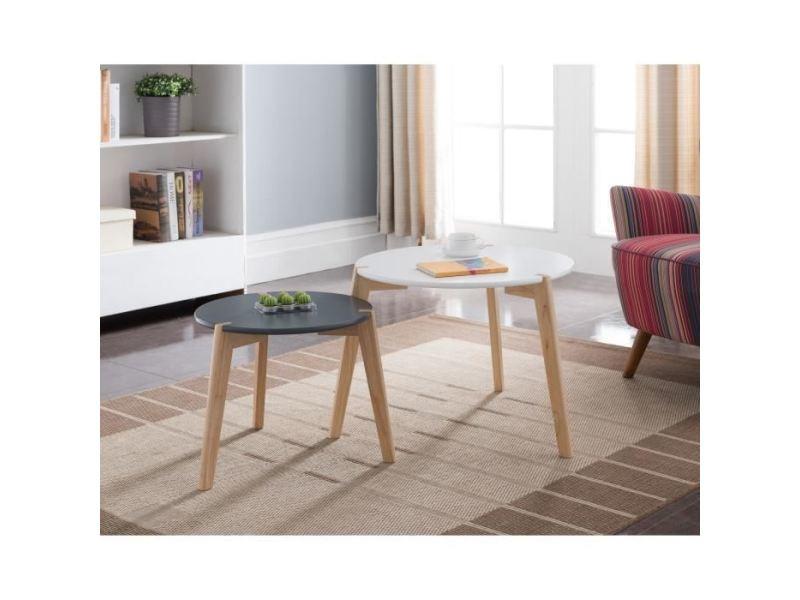 Table gigogne galet lot de 2 tables gigognes rondes scandinave blanc et noir laqués mat - ø 60 cm et ø 45 cm