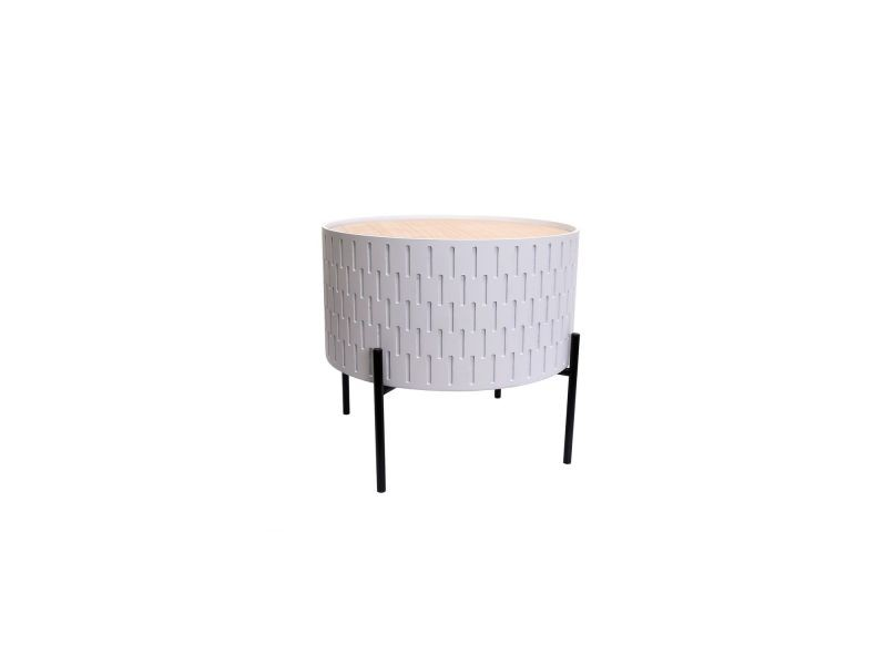 Table d'appoint avec coffre scandi kelia - diam. 38 cm - blanc