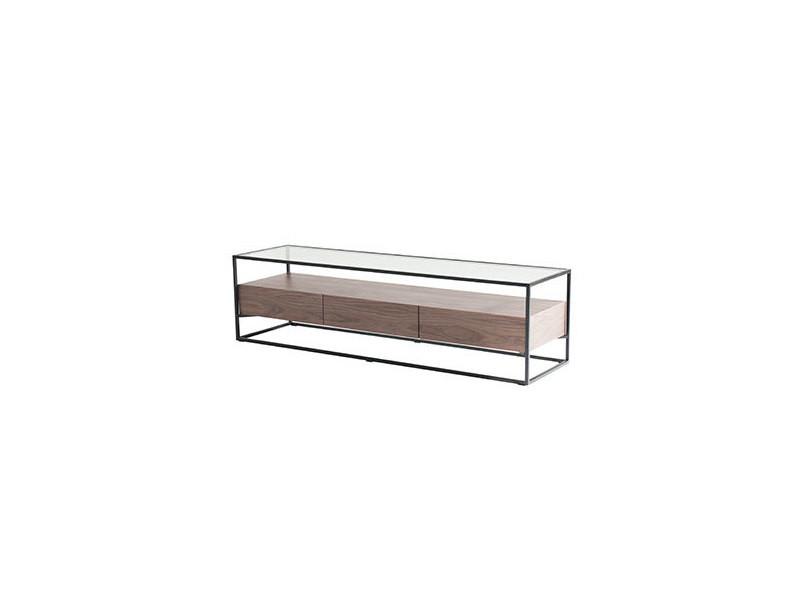 Meuble tv en verre trempé bois et métal - aspen