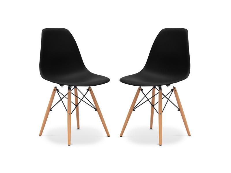 Pack de 2 chaises geneva - polypropylène mat noir