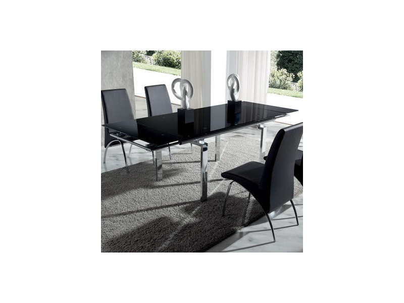 Table à manger en verre noir et métal chromé juline - Vente de ...