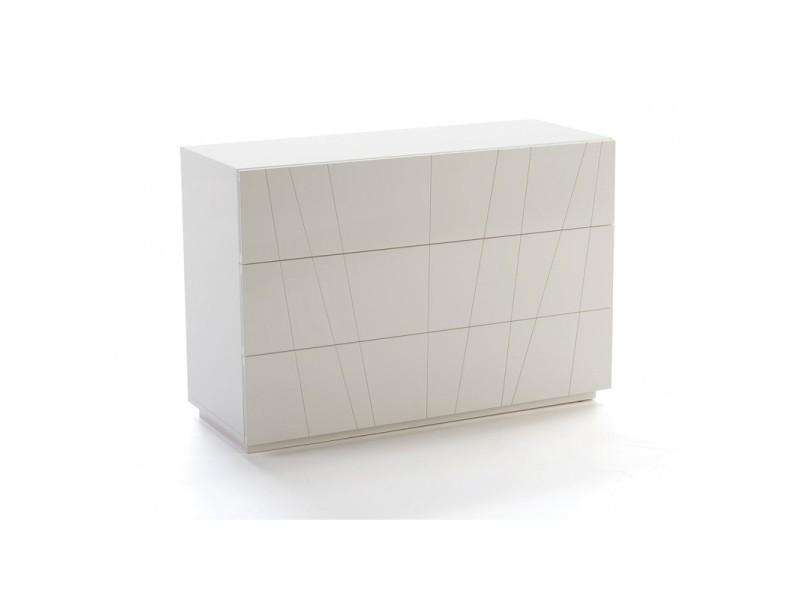 Commode 3 tiroirs en bois laqué blanc alida - l 115 x l 47 x h 80 ...