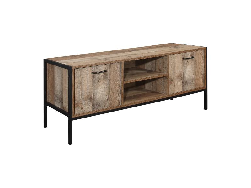 Meuble tv 2 tiroirs & 2 niches style industriel - Vente de ...
