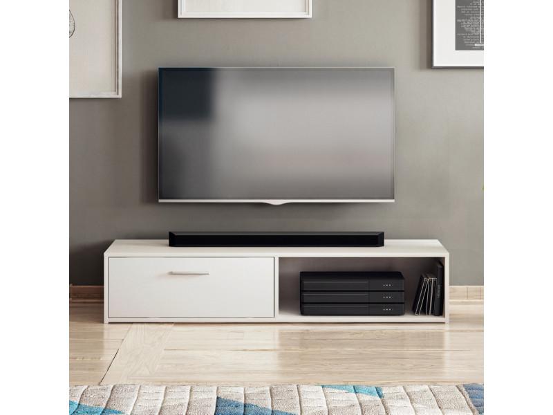 Meuble tv - rollo - 140 cm - blanc mat