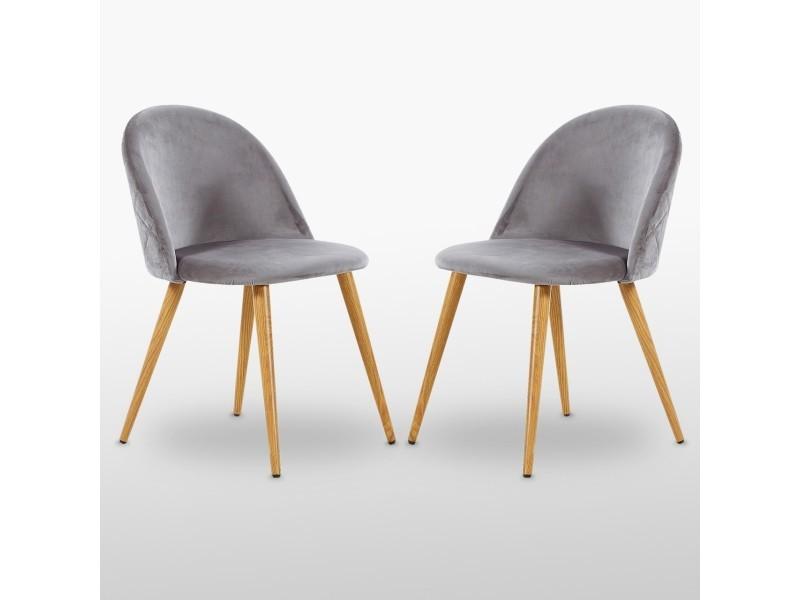 Lot de 2 chaises en velours vintage grises - inspiration scandinave