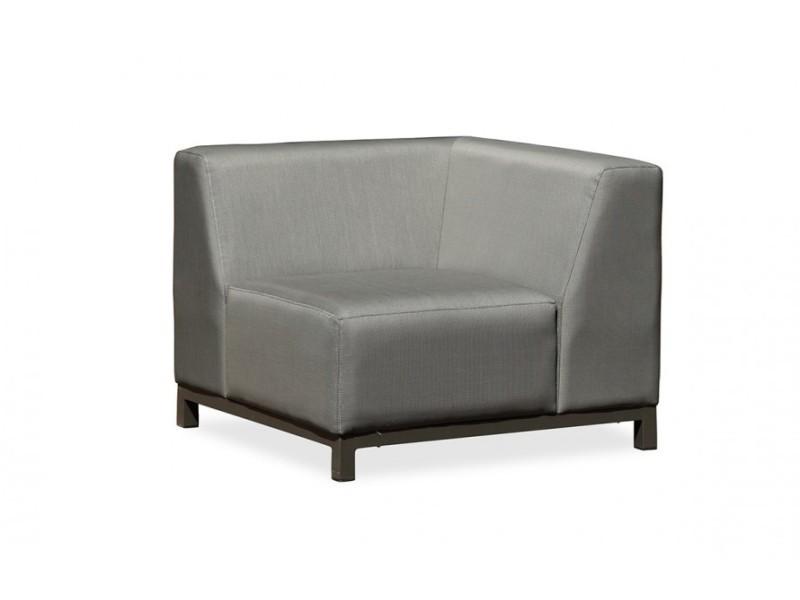 Salon de jardin canapé d\'angle en textilène gris - Vente de ...