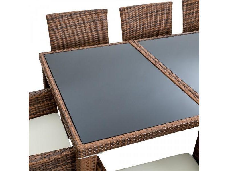 Salon de jardin 8 chaises rotin résine tressé synthétique ...