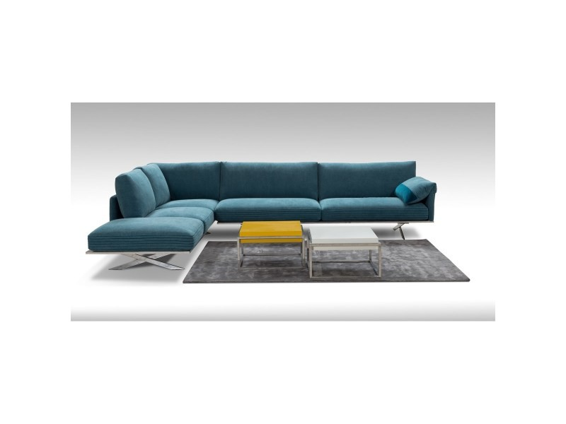 Canapé angle tissu bleu allan k ottomane gauche 5 places