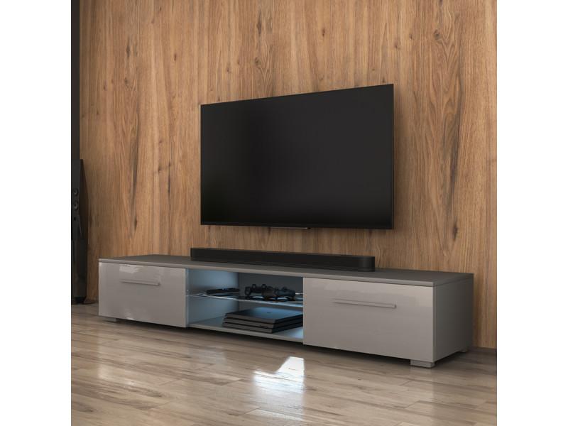 Meuble tv - edith - 140 cm - gris mat / gris brillant - led