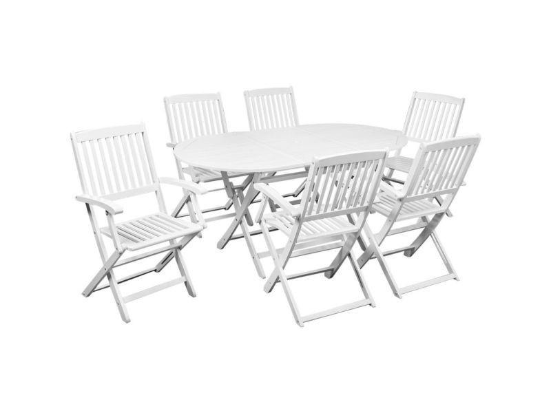 Vidaxl mobilier à dîner de jardin 7 pcs bois d\'acacia solide blanc