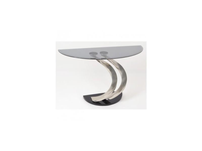 Console demi rond en verre et métal arrondi 120 cm hailey