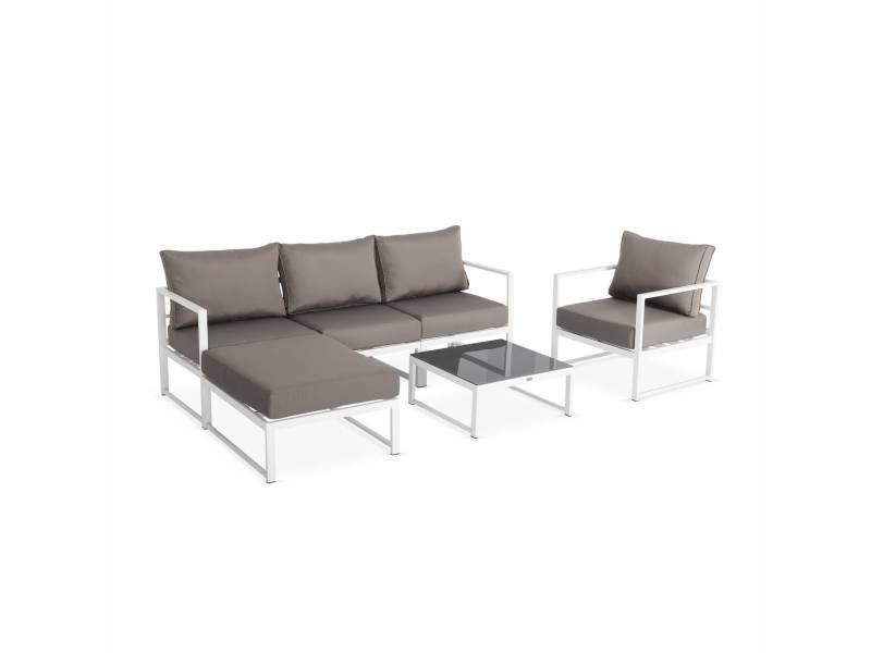 Salon de jardin 5 places acatium en aluminium, structure blanche et ...