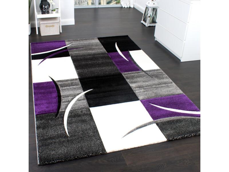 Tapis Design Et Modern Pour Le Salon Diamond 665 Blanc, Violet, Noir 200 X