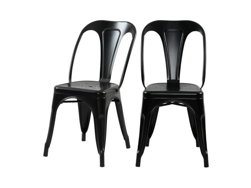 Chaise indus noir mat (lot de 2)