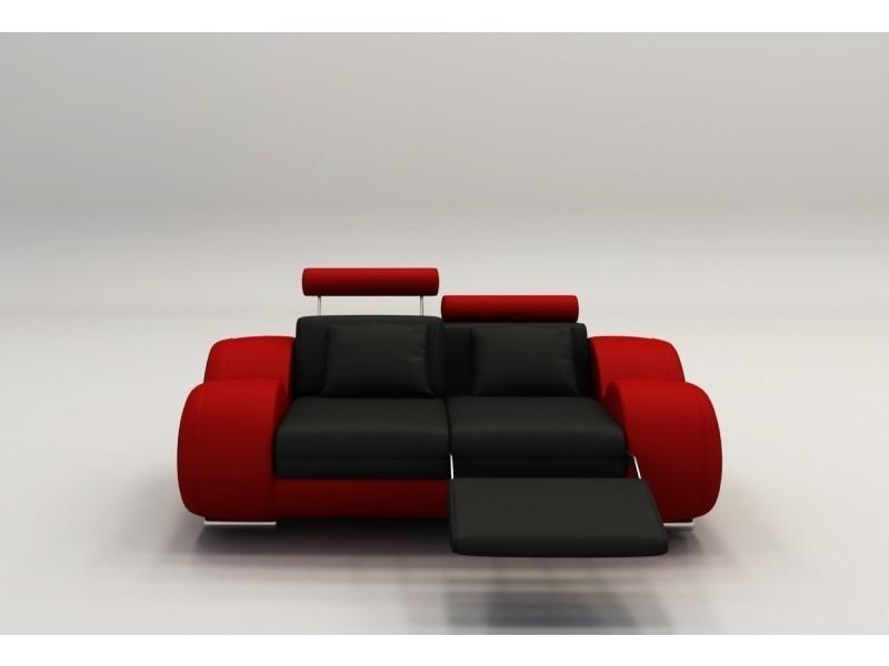 Canape 2 Places Design Relax Oslo En Cuir Noir Et Rouge Vente De