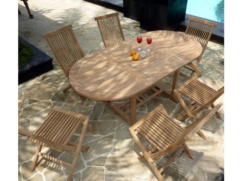 Salon de jardin en teck brut pour 6 personnes table en teck ...