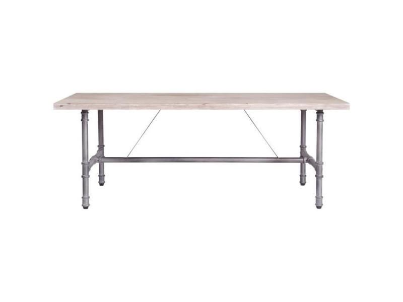 Table basse rectangulaire - bois et tube industriel patine - 120 x 80 x 45 cm - tulo HT20C54