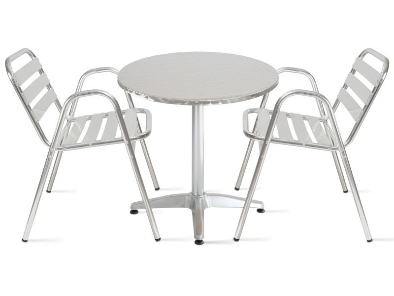 Table de jardin ronde en aluminium 2 places - Vente de Ensemble ...