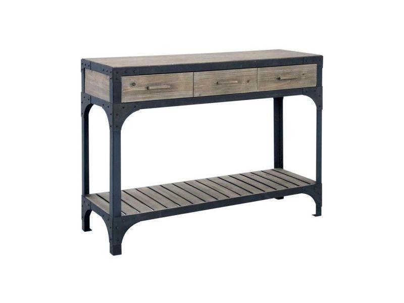 Console bois et métal loft