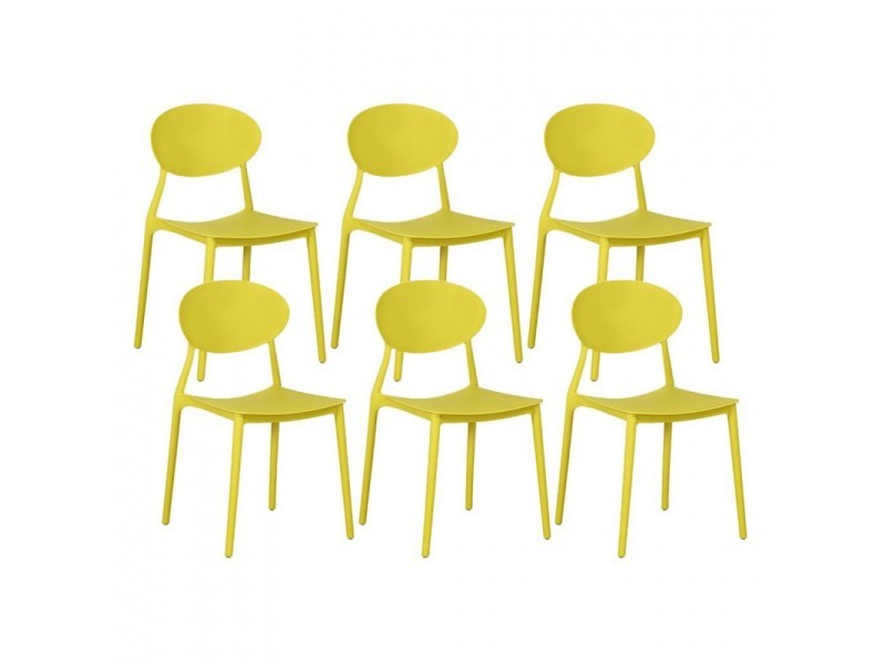 De Chaises Pp Empilables En Jaune 430135lot6 6 Lot Mega Vente 3jR4AL5