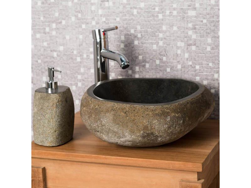 vasque galet Vasque à poser en pierre naturelle salle de bain galet 30 cm