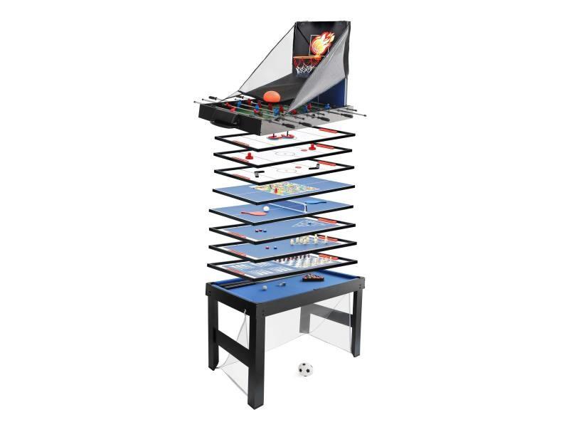 Table de baby-foot hwc-j16, 20 en 1 table de jeu, multijoueur, mdf 174x107x60cm ~ noir