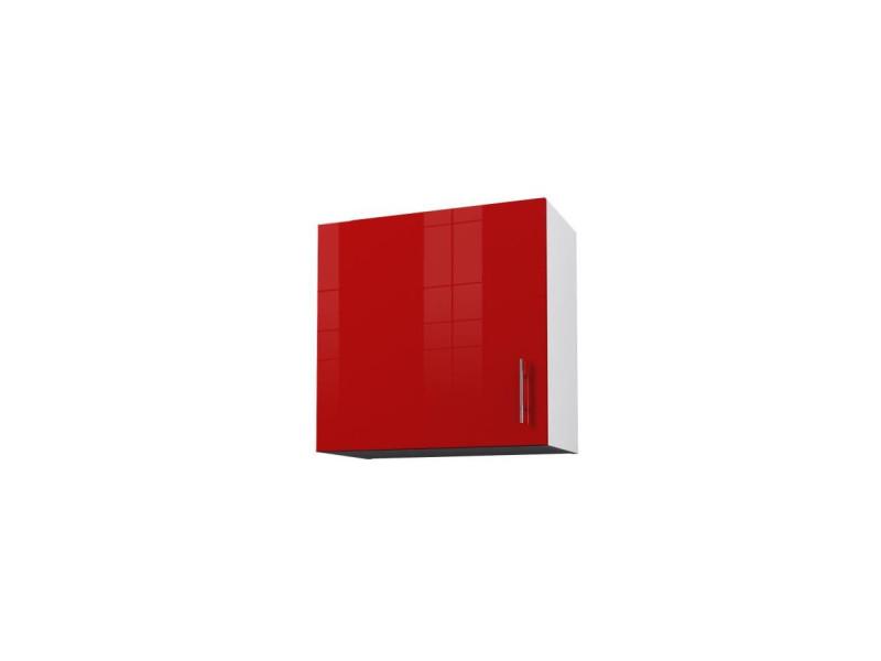 Blanc et Rouge laqu/é Brillant Obi Caisson Haut de Cuisine avec 1 Porte l 60 cm
