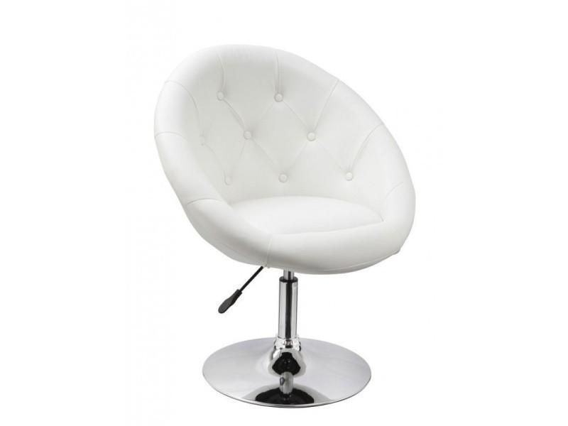 Fauteuil Oeuf Capitonné Design Cuir Pu Chaise Bureau Blanc