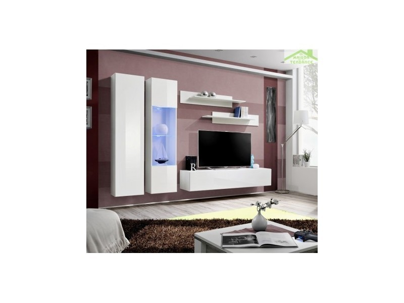 ensemble meuble tv suspendre fly a avec led 260x190x40. Black Bedroom Furniture Sets. Home Design Ideas