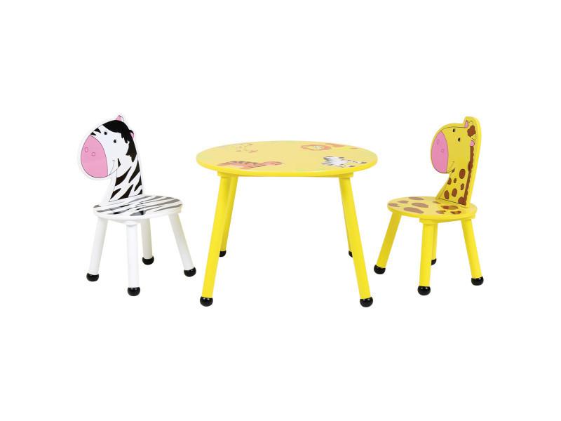 PEGANE Ensemble table et chaise enfant pour loisirs cr/éatifs motif de jungle