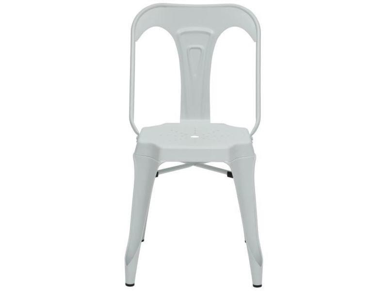Chaise kraft zoeli lot de 2 chaises de salle a manger - métal blanc mat - style industriel - l 44 x p 53 cm