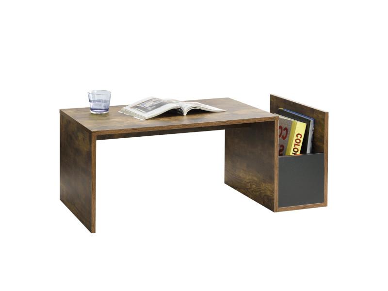 Table basse pour salon meuble stylé avec compartiment de stockage en panneau de particules mélaminé 90 x 45 x 35 cm chêne foncé noir [en.casa]