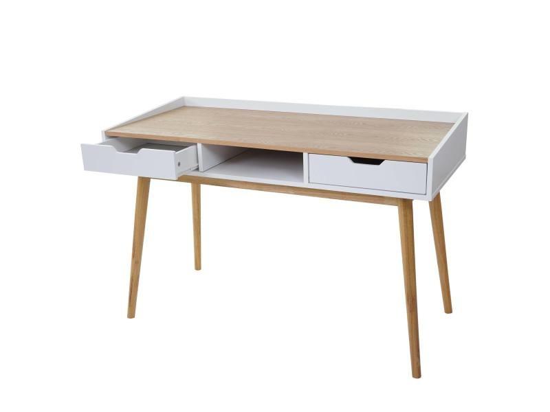 Bureau hwc a table d ordinateur cm mdf aspect frêne