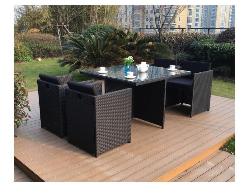 Magnifique salon de jardin florida 4 noir/noir : salon encastrable 4 ...