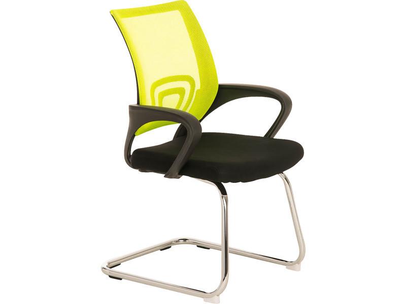Chaise visiteur en métal avec siège en tissu coloris jaune/noir - 89 x 58 x 61 cm -pegane-